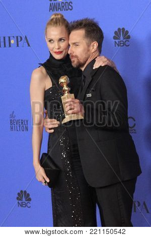 LOS ANGELES - JAN 7:  Leslie Bibb, Sam Rockwell at the 75th  Golden Globes Press Room at Beverly Hilton Hotel on January 7, 2018 in Beverly Hills, CA