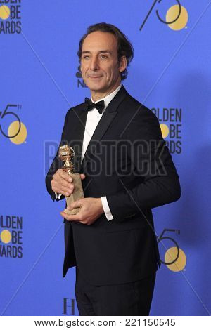 LOS ANGELES - JAN 7:  Alexandre Desplat at the 75th  Golden Globes Press Room at Beverly Hilton Hotel on January 7, 2018 in Beverly Hills, CA