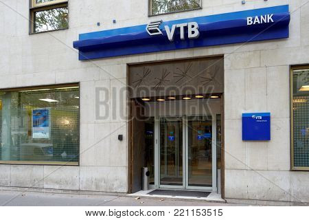PARIS, FRANCE – SEPTEMBER 12, 2013: Office of Russian VTB bank in French capital. The bank was found in 1921 in Paris to service trade operations between the USSR and France
