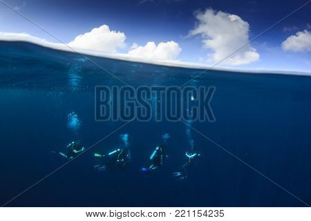 Scuba diving underwater half and half split photo