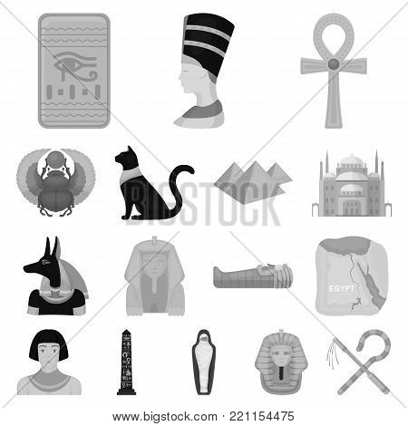 Ancient Egypt monochrome icons in set collection for design. The reign of Pharaoh vector symbol stock  illustration.