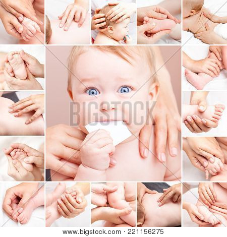 Seven month baby girl's neck, arm, hand, thumb, elbow, back, spine, head and foot are manipulated by an osteopathic manual therapist or physician  collage