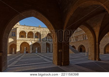 RHODES, GREECE – OCTOBER 9, 2017: Courtyard of the Palace of the Grand Master of the Knights of Rhodes. The palace was built in XIV century, and since 1988 is listed as UNESCO World Heritage