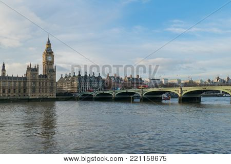 Houses Of Parliament, Big Ben And Westminster Bridge In London, UK At Day.