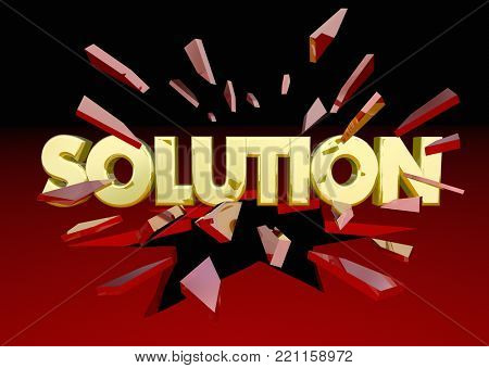 Solution Word Breaking Glass Problem Solved 3d Illustration