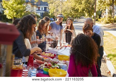 Neighbours standing around a table at a block party