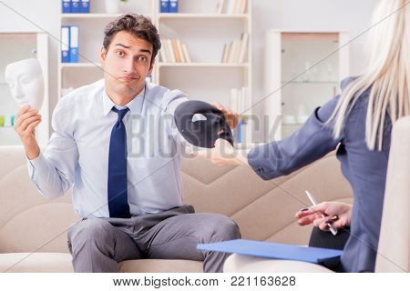 Young man visiting psychiatrist doctor for consultation