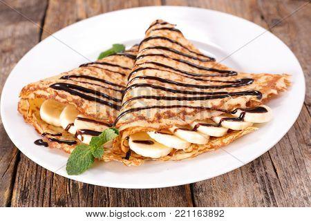 crepe with chocolate and banana