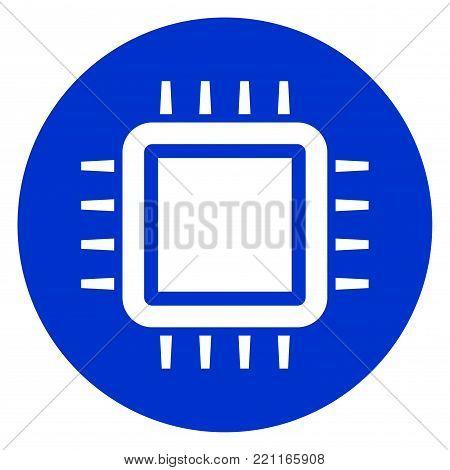 Illustration of cpu blue circle icon concept