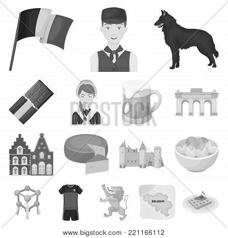 Country Belgium monochrome icons in set collection for design.Travel and attractions Belgium vector symbol stock  illustration.