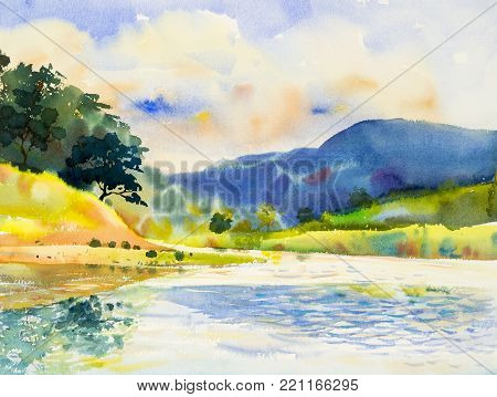 Watercolor landscape original painting colorful of  river and mountain forest with sky cloud  background, in beauty nature spring season. Painted impressionist, illustration image