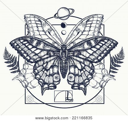 Butterfly tattoo art. Symbol of magic, renaissance, esoterics, travel, soul. Butterfly in mystical circle t-shirt design