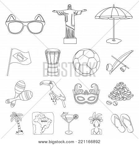 Country Brazil outline icons in set collection for design. Travel and attractions Brazil vector symbol stock  illustration.