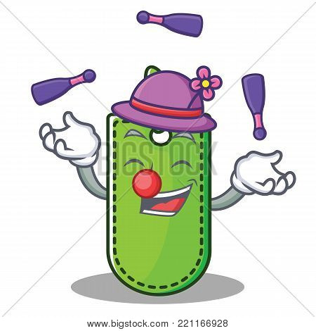 Juggling price tag mascot cartoon vector illustration