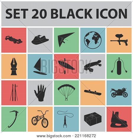 Extreme sport black icons in set collection for design.Different kinds of sports vector symbol stock  illustration.