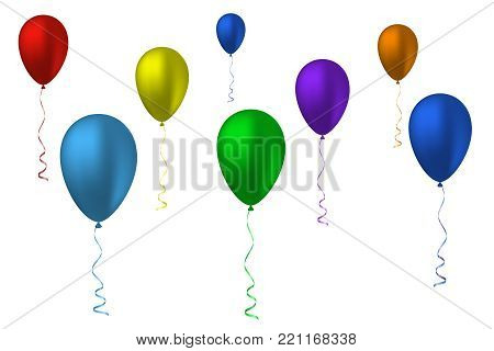 Flying inflatable balls of different colors. Vector illustration