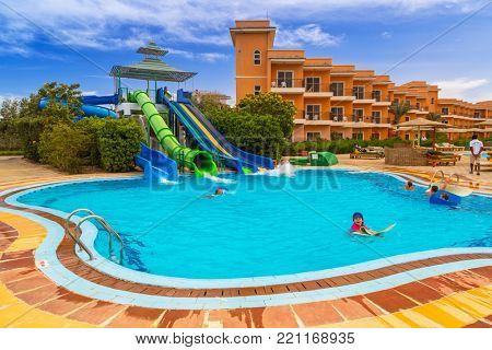 HURGHADA, EGYPT - APR 9, 2013: Tropical resort Three Corners Sunny Beach in Hurghada on 12 April 2013. Three Corners is Belgian company with 11 hotels at Red Sea in Egypt and one in Budapest, Hungary.