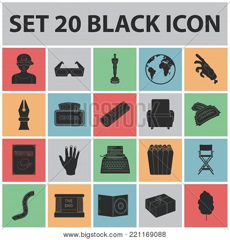 Films and cinema black icons in set collection for design.Movies and Attributes vector symbol stock  illustration.