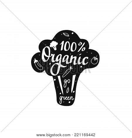 Vector 100 organic go green lettering broccoli badge design