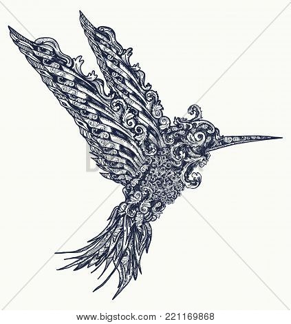 Humming bird tattoo and t-shirt design. Symbol of freedom, dream, travel, imagination. Beautiful flying hummingbird  in ethnic style, bird tattoo