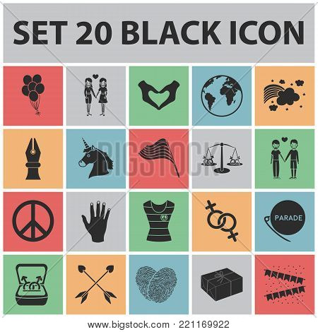 Gay and lesbian black icons in set collection for design.Sexual minority and attributes vector symbol stock  illustration.