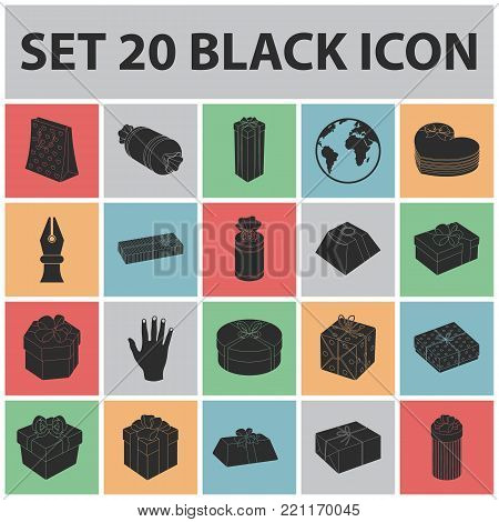 Gift and packing black icons in set collection for design.Colorful packing vector symbol stock  illustration.