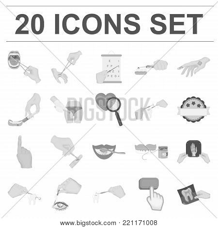 Manipulation by hands monochrome icons in set collection for design. Hand movement in medicine vector symbol stock illustration.