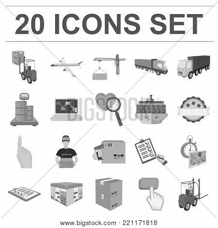 Logistics and delivery monochrome icons in set collection for design. Transport and equipment isometric vector symbol stock  illustration.