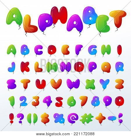 Balloon alphabet vector character set illustration with kids style toys colorfull air balls isolated Birthday celebration event ABC baby design.