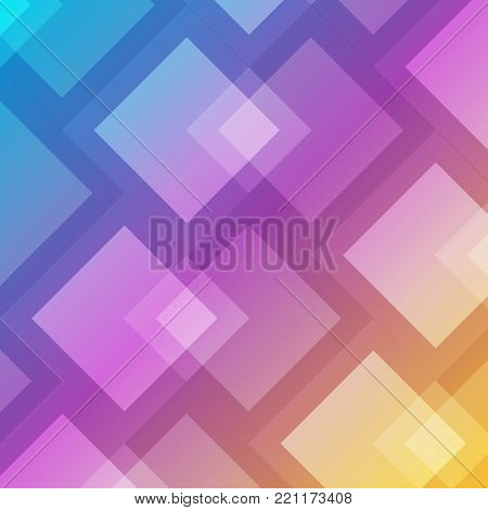 Abstract geometric square overlap on colorful background. Vector illustration.