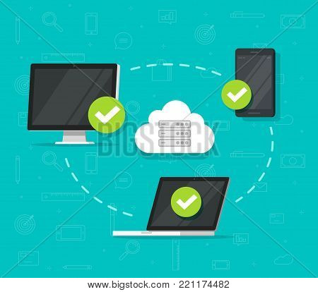 Cloud network connection between devices vector illustration, flat cartoon desktop computer pc, laptop and smartphone or mobile phone connected to network, wireless access point, communication system