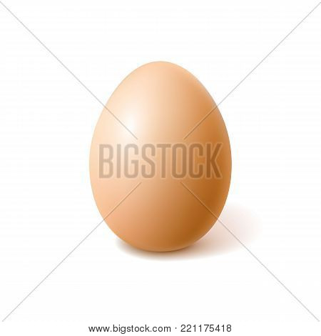 Vectro realistic 3d chicken egg with brown eggshell. Easter holiday spring symbol organic raw uncooked natural farm product. Healthy eating lifestyle advertising Isolated illustration white background
