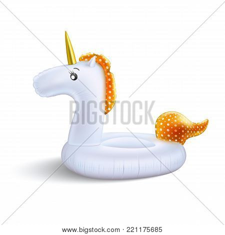 Vector realistic 3d unicorn shape orange hair inflatable swimming pool ring, tube float. Summer vacation holiday rubber object traveling beach ocean advertising. Illustration isolated white background
