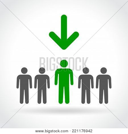 Illustration of elected man concept on white background
