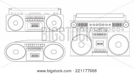 Set of linear illustrations of audio tape recorders and boom box. Vector black and white element for your creativity