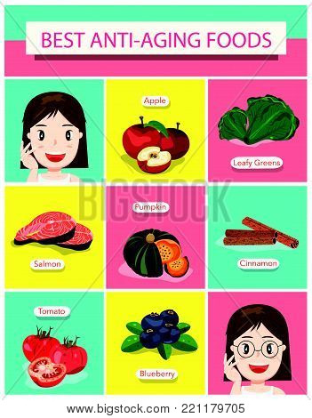 Best Anti-Aging Foods Set, with Cute Cartoon Lady Infographics Style, Illustration