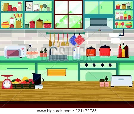 Interior modern kitchen with the window, dining table, shelf, cupboard, all in flat design, illustration