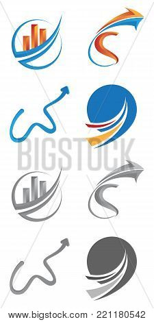 Various of Business finance logo template - vector concept illustration. Economic infographic sign. Arrows and infograph bar. Growth graphic symbol.