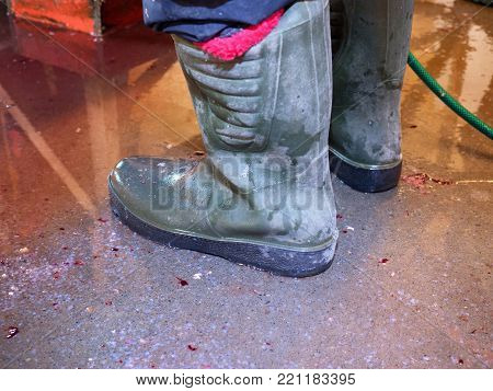 Dirty rubber boots on bloddy water floor. Fish slaughterhouse or butchery . Marble floor and ground pressure washing cleaning