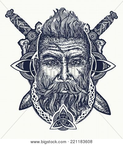 Viking tattoo, bearded barbarian of Scandinavia, crossed swords, god Odin. Symbol of force, courage. Scandinavian mythology, viking art print t-shirt design