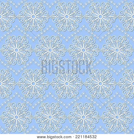 seamless pattern with white snowflakes on a blue background