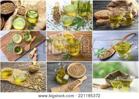 Collage with hemp oil and seeds