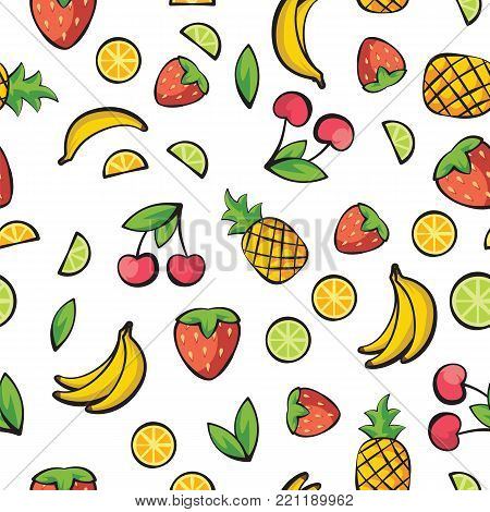 Fruits banana, cherry, lemon, lime, pineapple, strawberry on white background pattern. Fresh fruits isolated on white background pattern vector