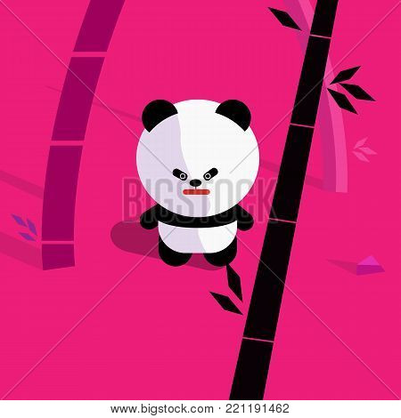 cute cartoon panda in bamboo forest vector illustration.Design panda character with bamboo background.Panda standing in jungle.