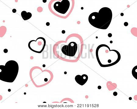 Abstract seamless background with rose and black hearts