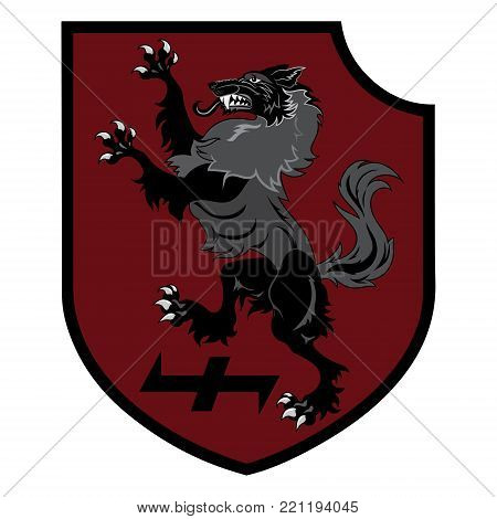 Design patch. Heraldic shield with a Werewolf, Helm of Awe and rune Wolfsangel, isolated on white, vector illustration