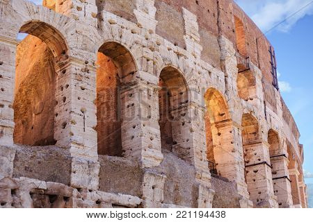 Arches in Closeup of old Roman Coliseum
