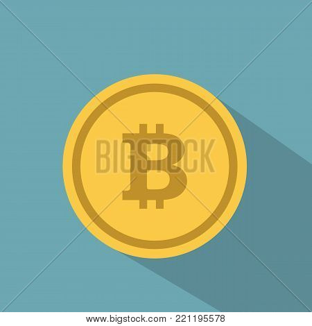 Bitcoin. Physical bit coin. Digital currency. Cryptocurrency. Golden coin with bitcoin symbol isolated on blue background. Stock vector illustration.