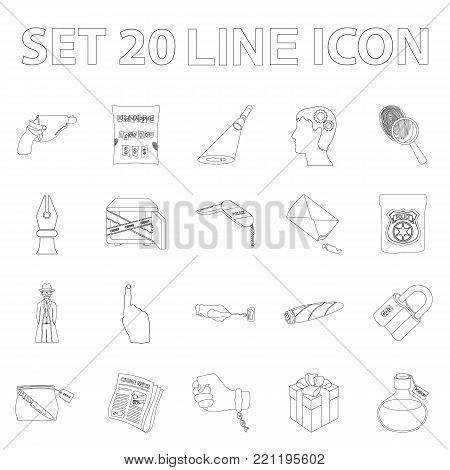Detective agency outline icons in set collection for design. Crime and investigation vector symbol stock  illustration.