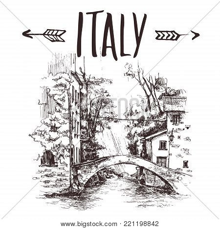 Hand drawn bridge, urban sketch style vector illustration isolated on white background. Sketch style drawing of historical Italian bridge, house